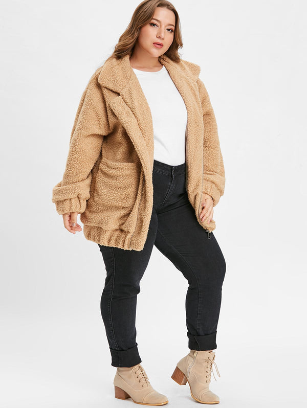 Plus Size Stand Collar Fluffy Coat