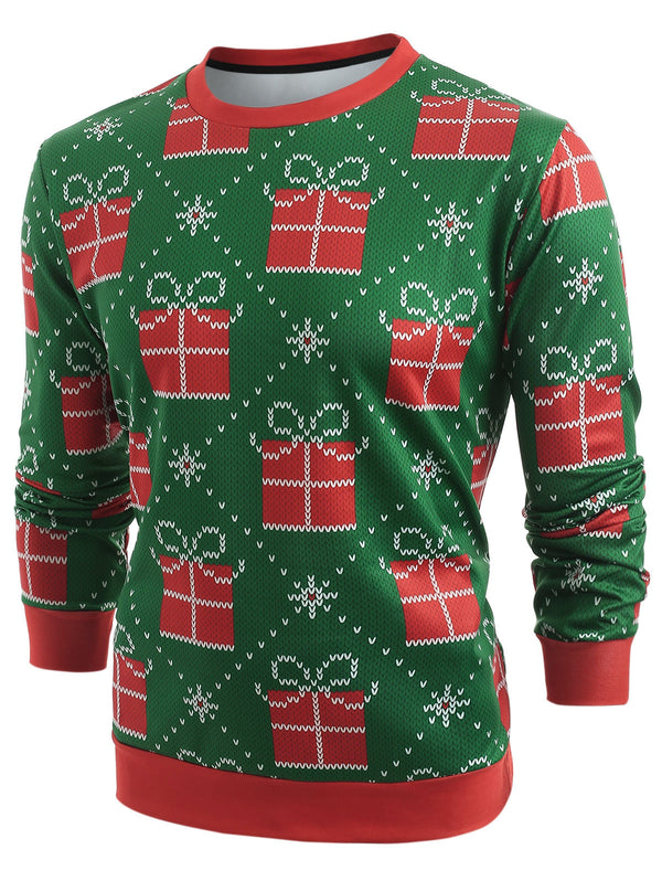 Christmas Gifts Knitted Print Long Sleeve Sweatshirt