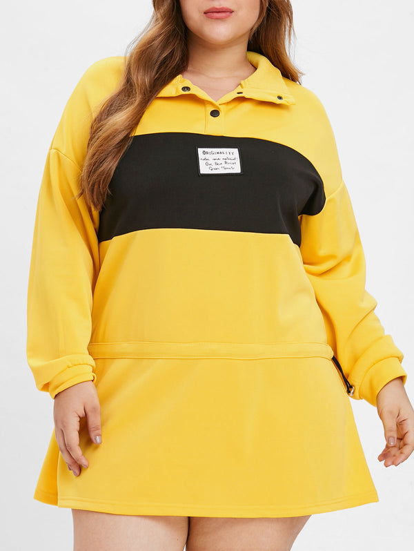 Plus Size Color Block Back Print Sweatshirt Dress