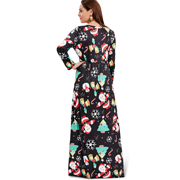 Christmas Full Print Plus Size Maxi Dress