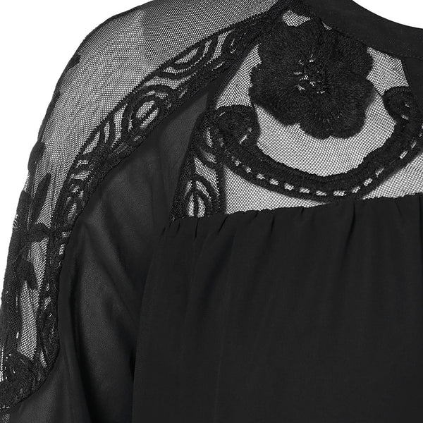 Plus Size Mesh Lace Detail Blouse