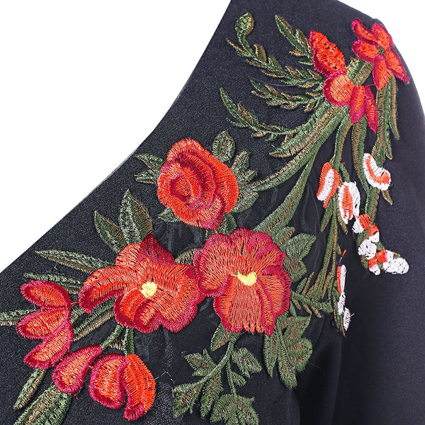 Floral Embroidery Long Sleeve Peplum T-shirt