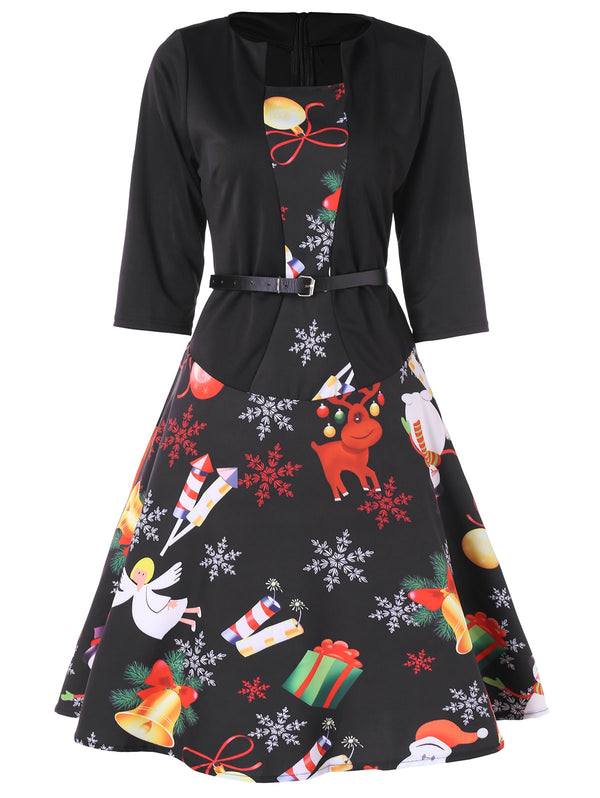 Christmas Print Belted Flare Dress