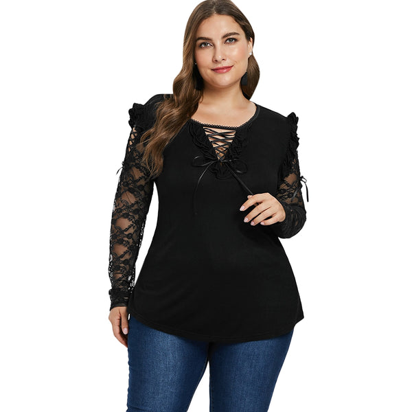 Plus Size Halloween Lace Up T-shirt