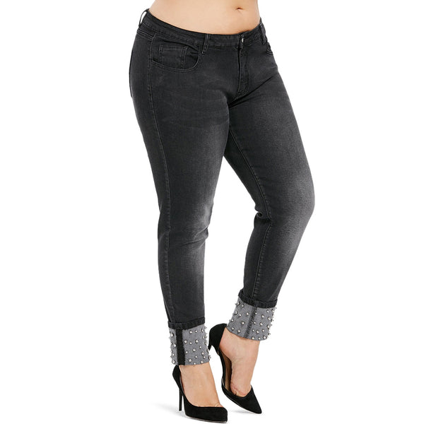 Plus Size Beaded Skinny Jeans