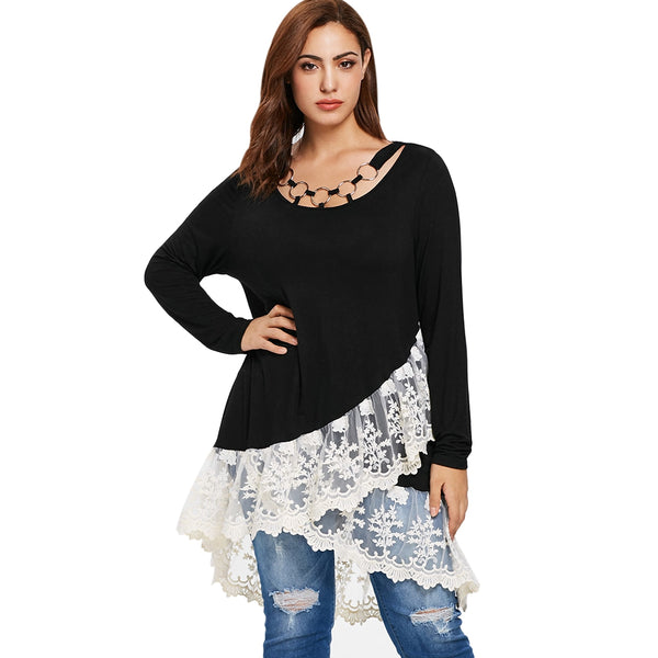 Plus Size Lace Panel Layered T-shirt