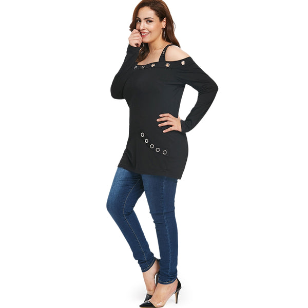 Plus Size Cold Shoulder T-shirt with Grommets