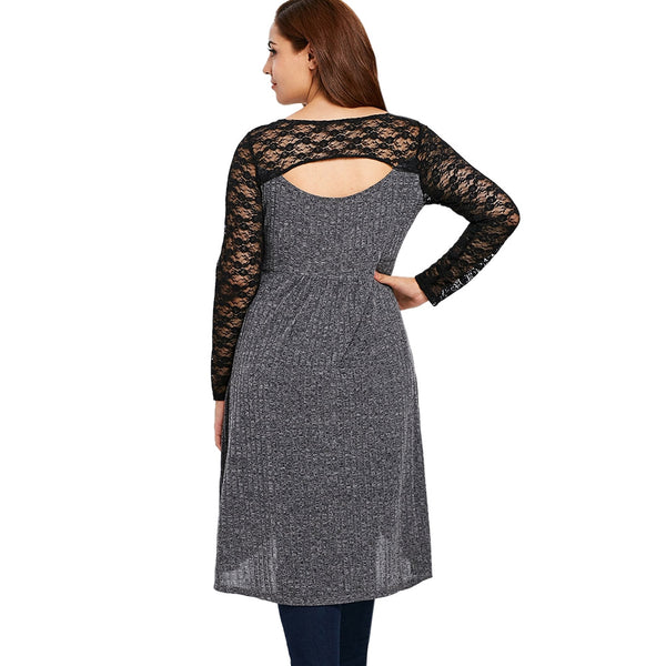 Plus Size Lace Insert Cut Out Marled T-shirt