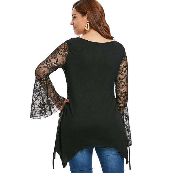 Plus Size Halloween Lace Up Asymmetrical Tee