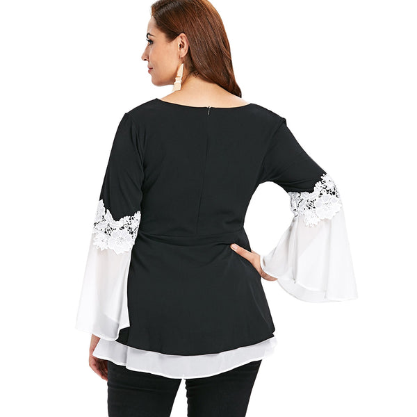 Plus Size Two Tone Flare Top