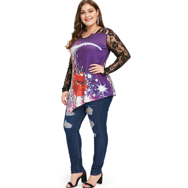 Plus Size Lace Panel Christmas T-shirt