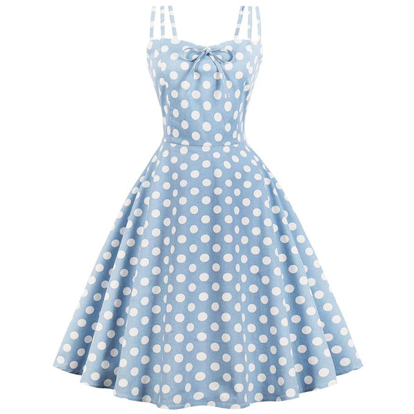 Vintage Spaghetti Strap Polka Dot Flare Dress