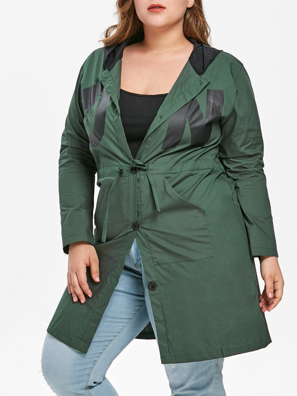 Plus Size Printed Drawstring Waist Coat