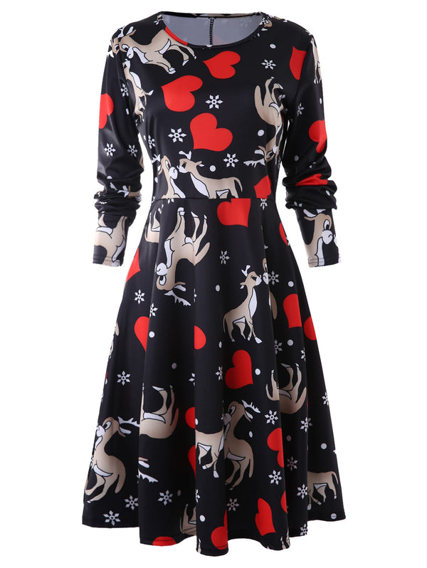 Heart Deer Print A Line Dress
