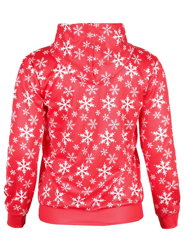 Christmas Santa and Tree Print Pullover Hoodie
