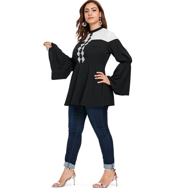 Contrast Lace Panel Plus Size Blouse