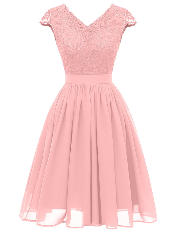 Lace Bodice Cap Sleeve Midi Dress