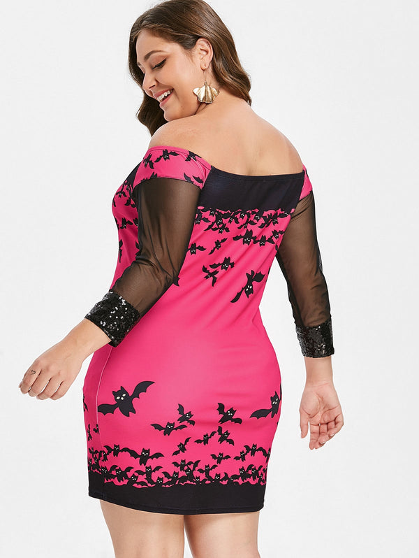 Halloween Plus Size Off The Shoulder Mini Dress