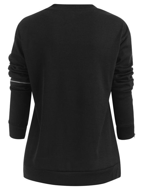 Long Sleeve Zippers Sweatshirt