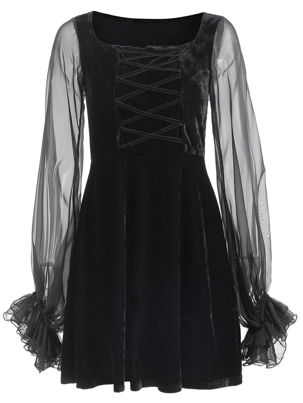 Puff Sleeve Criss-cross Velvet Dress