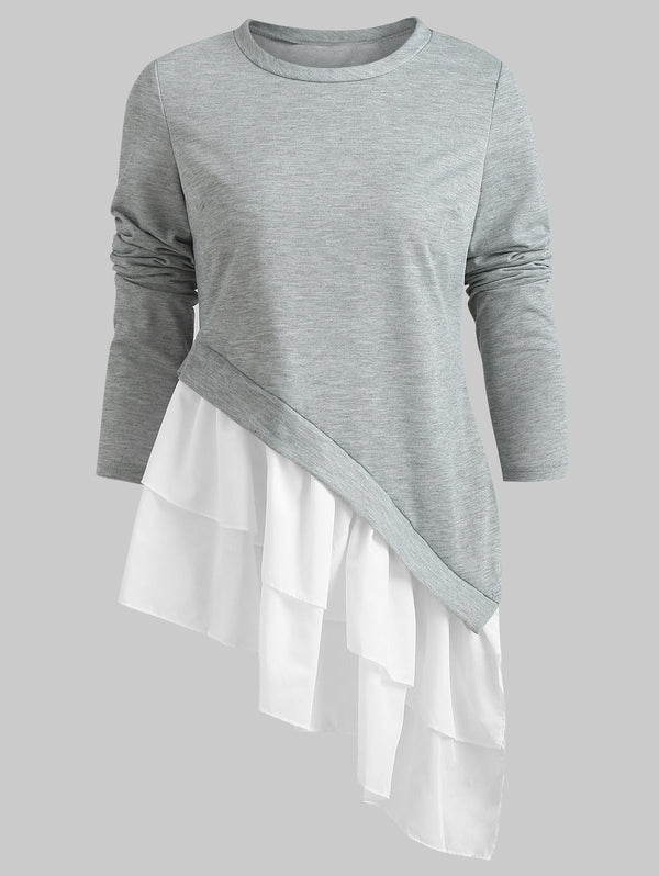 Flounced Hem Asymmetrical T Shirt