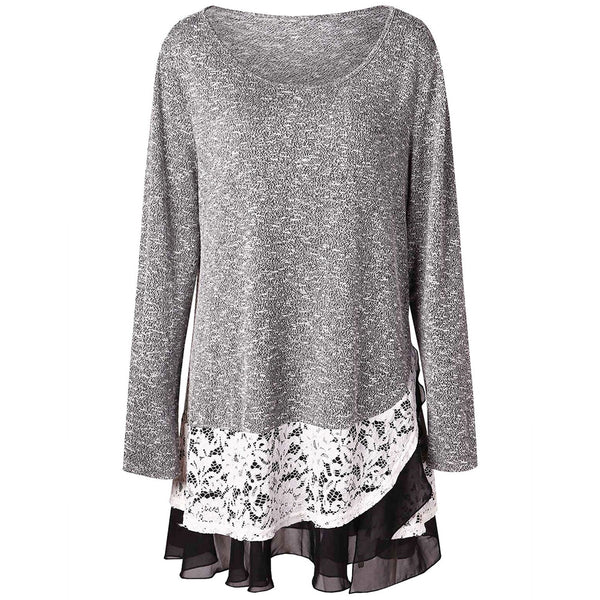 Plus Size Lace Trim Tunic Knitwear