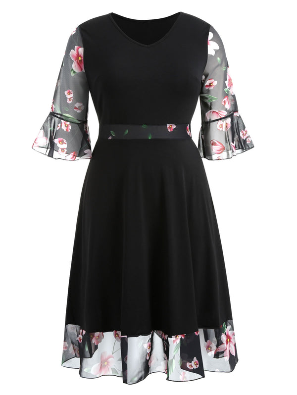 Plus Size Flare Sleeve Floral Panel Mid Calf Dress