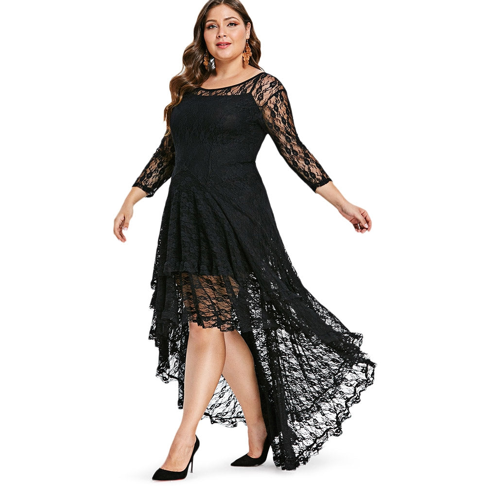2a908aa3cee26 Plus Size High Low Lace Dress with Cami Dress