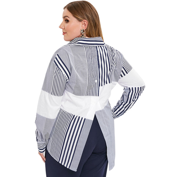 Plus Size Longline Asymmetric Striped Shirt