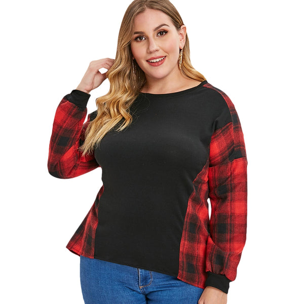 Plus Size Plaid Panel High Low Pullover Sweatshirt
