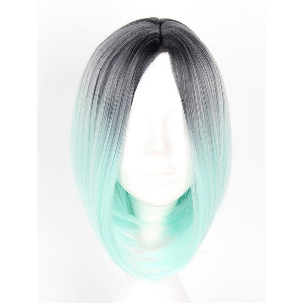 Women's Colorful Highlights Natural Straight Hair Wig Ladies Casual Short Wig