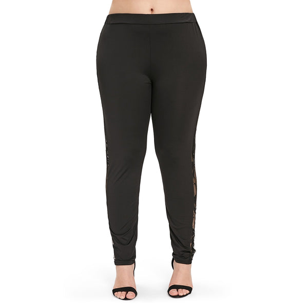 Side Lace Panel Plus Size Leggings