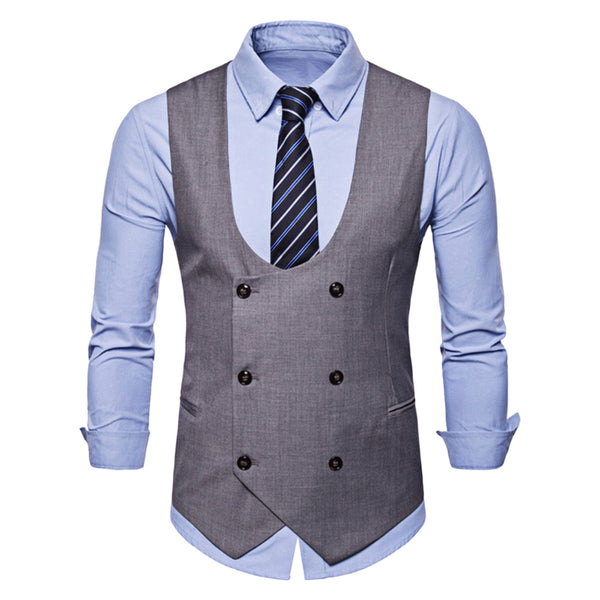 Back Belt Design Solid Color Waistcoat