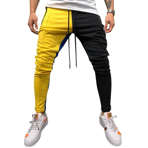 Color Block Pockets Drawstring Slim Fit Track Pants