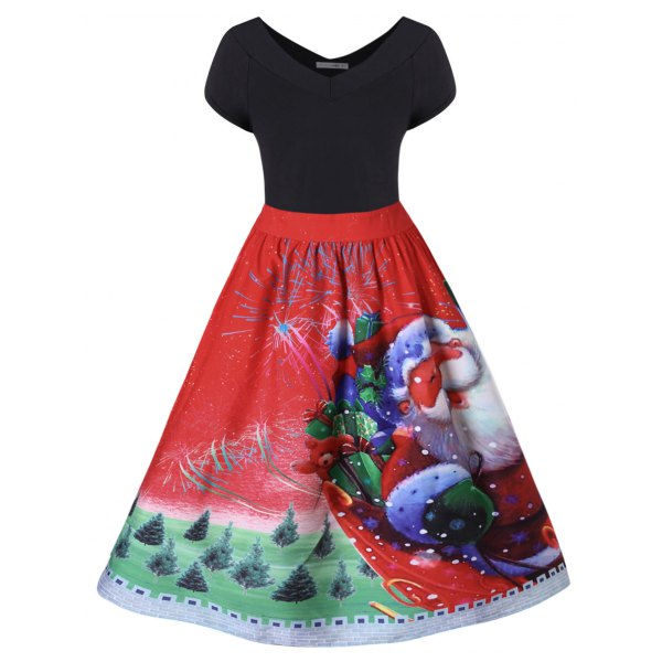 Plus Size Christmas V Neck Dress