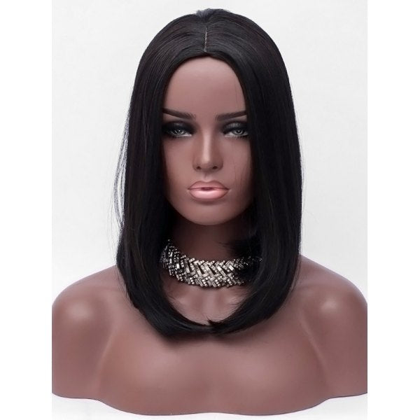 Center Parting Capless Medium Straight Bob Synthetic Wig