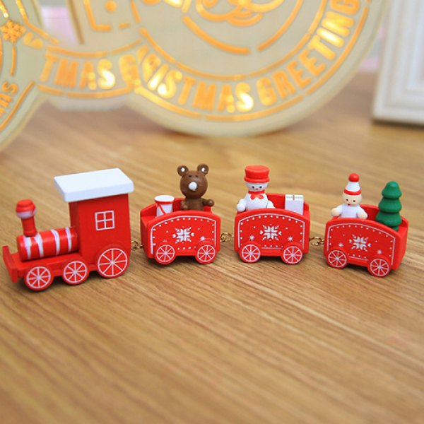 Wooden Four-section Small Train Christmas Decorations Ornaments