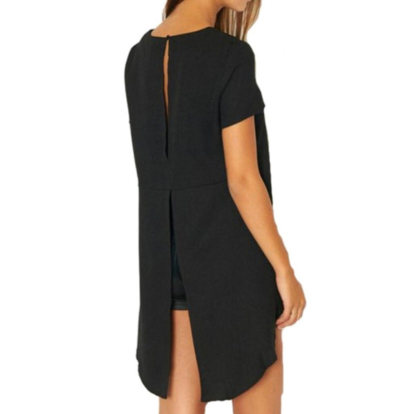 Loose shirt with long round collar at the back of high and low waist