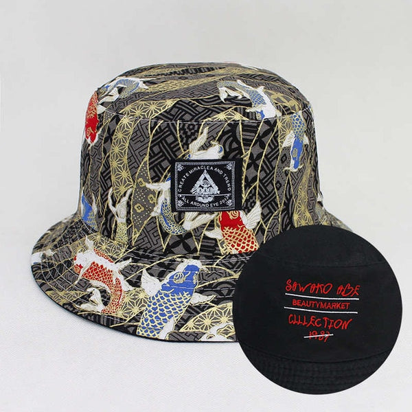 Cotton koi fish two sides print bucket cap travel cap sun hat