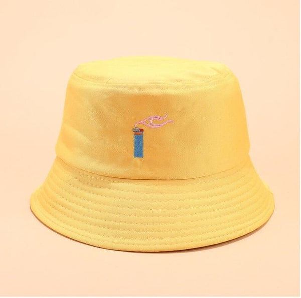 Creative embroidery bucket cap unisex foldable hip hop hat
