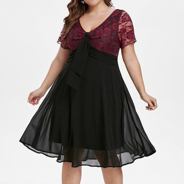 Sexy large size lace bow V-neck sexy casual dress
