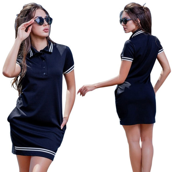 Fashion large size mini V-neck dress