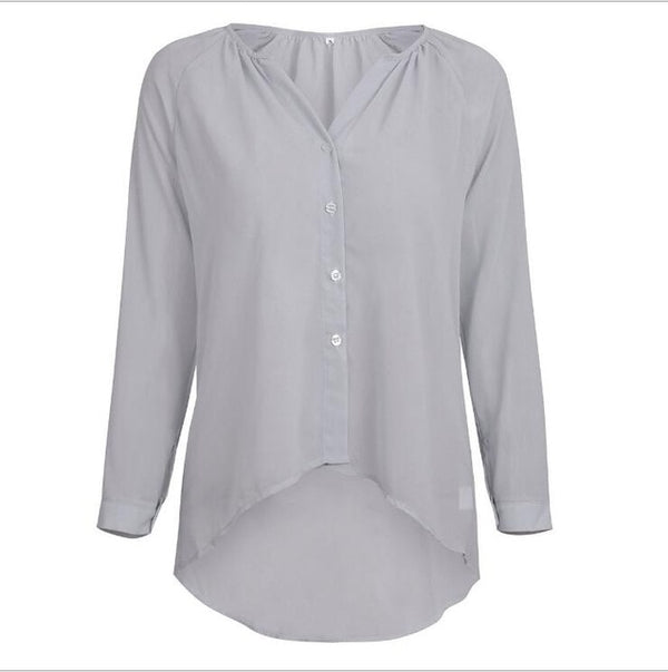 Long sleeve chiffon ladies V-neck casual shirt