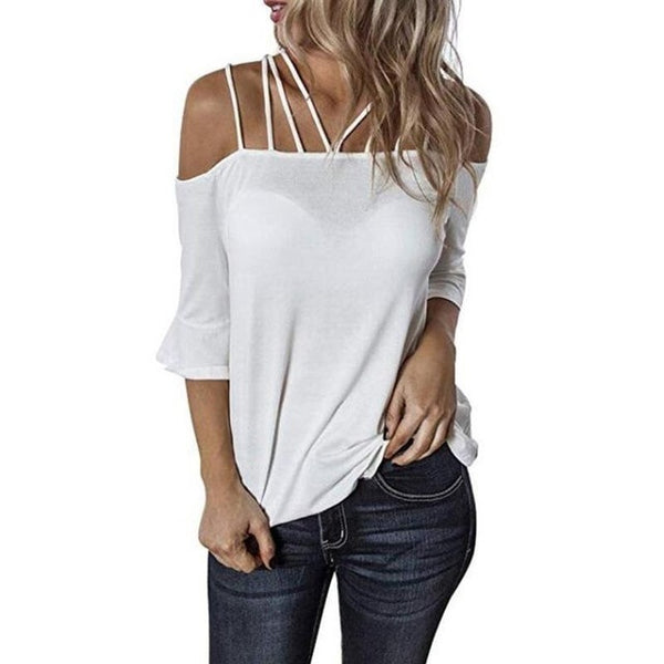 Off-the-shoulder casual sexy solid color large size T-shirt