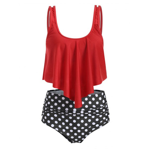 Padded tankini set with striped cover
