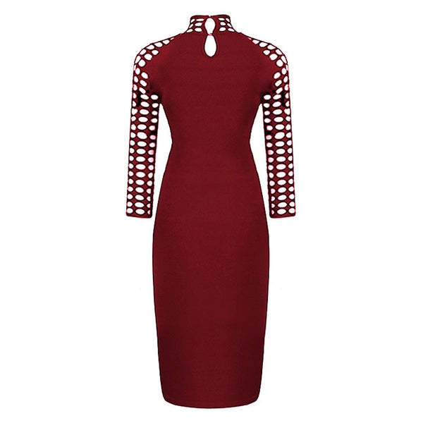 Women's Wear Holes Hollowing Out  Sleeve A High Collar Pencil Dress