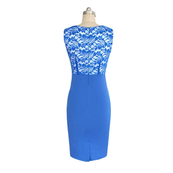 Ladies Fashion Lace Stitching Self-Cultivation and Knee Dress