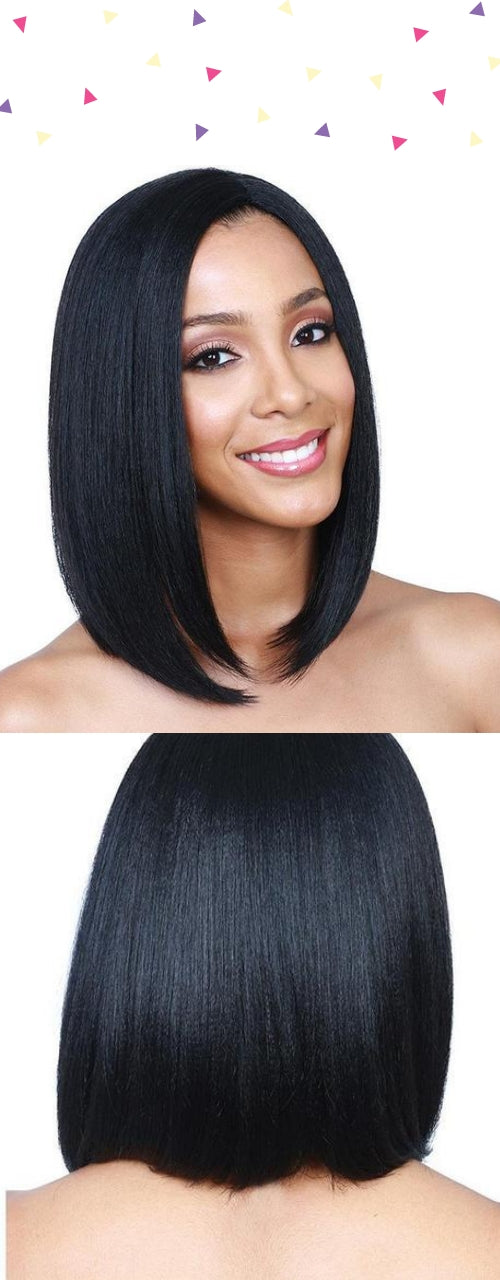 Lady Black Side Bang Short Wig