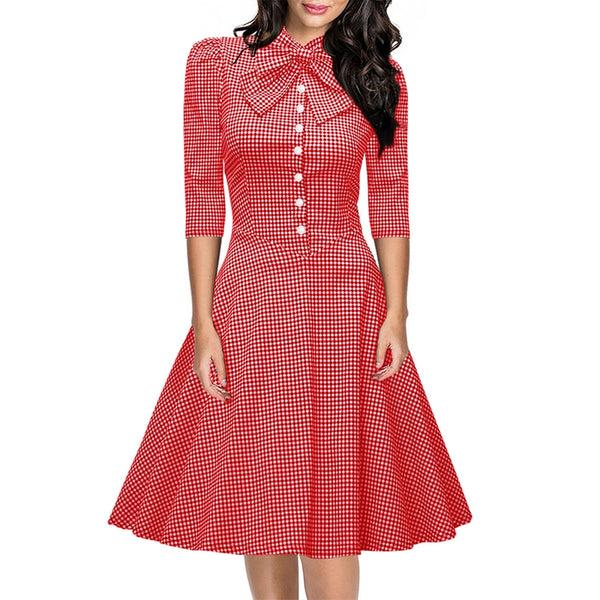 Women's Seven-Cent Sleeve Plaid Big Bow Fashion Big Swing Dress