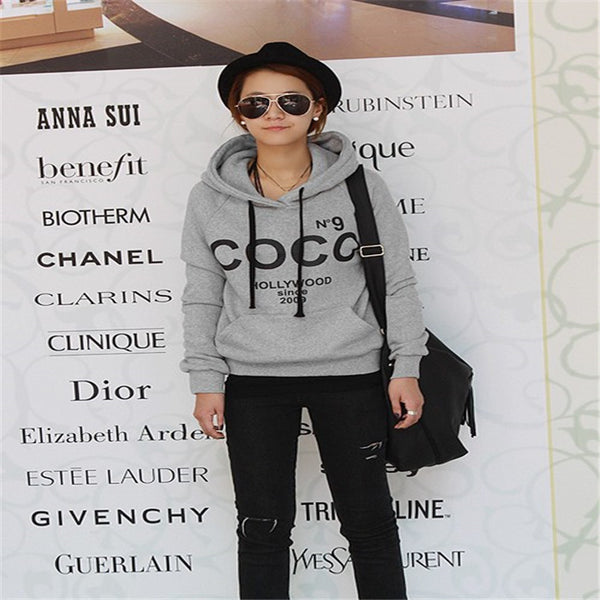2017 Korean version of the new loose letter hooded sweater women's long sleeve jacket